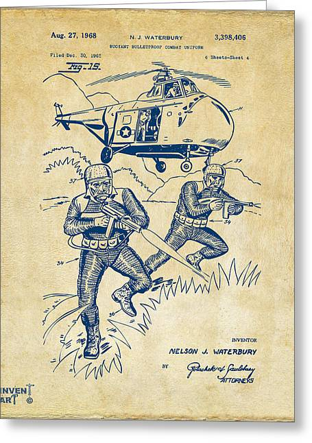 Navy Seals Greeting Cards - 1968 Bulletproof Patent Artwork Figure 15 Vintage Greeting Card by Nikki Marie Smith