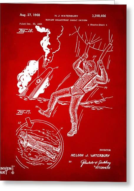 Navy Seals Greeting Cards - 1968 Bulletproof Patent Artwork Figure 16 Red Greeting Card by Nikki Marie Smith