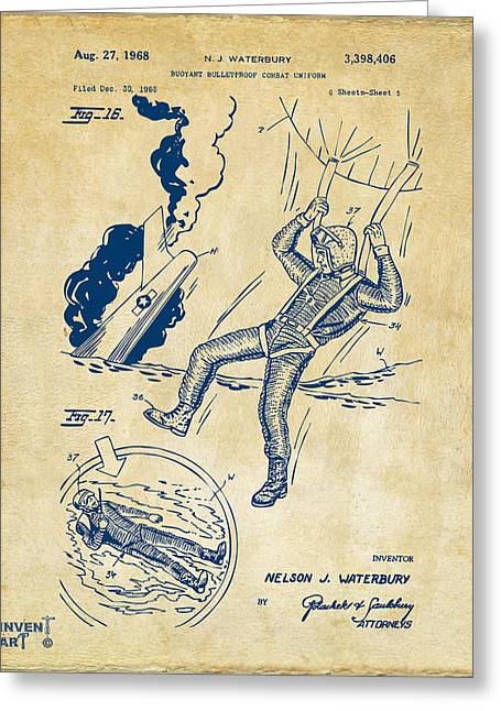 Navy Seals Greeting Cards - 1968 Bulletproof Patent Artwork Figure 16 Vintage Greeting Card by Nikki Marie Smith