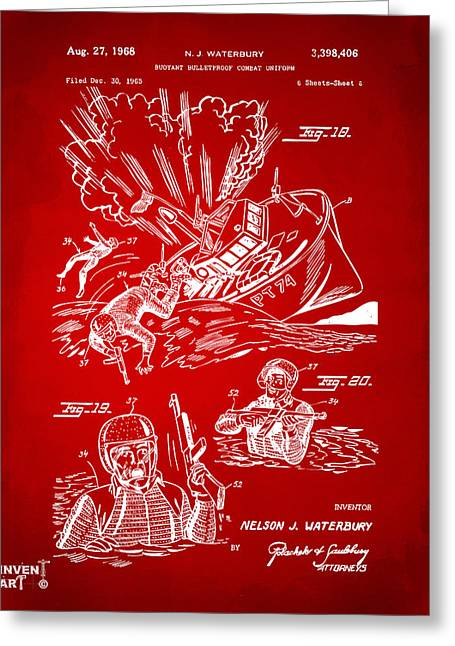 Navy Seals Greeting Cards - 1968 Bulletproof Patent Artwork Figure 18 Red Greeting Card by Nikki Marie Smith