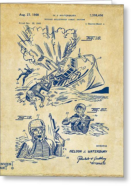 Navy Seals Greeting Cards - 1968 Bulletproof Patent Artwork Figure 18 Vintage Greeting Card by Nikki Marie Smith