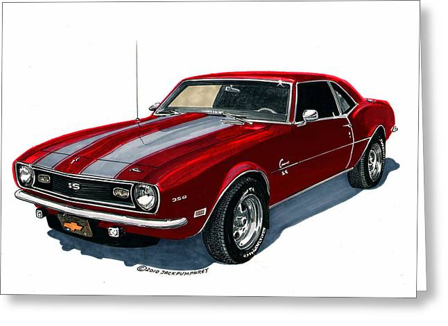Print On Canvas Greeting Cards - 1968 Camaro S S 350 Greeting Card by Jack Pumphrey