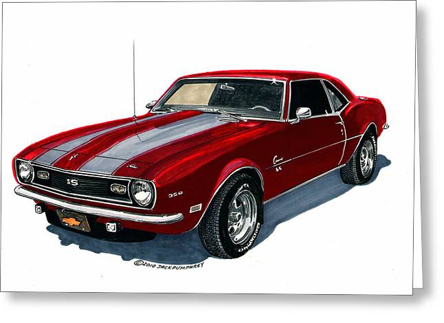 Print On Acrylic Drawings Greeting Cards - 1968 Camaro S S 350 Greeting Card by Jack Pumphrey