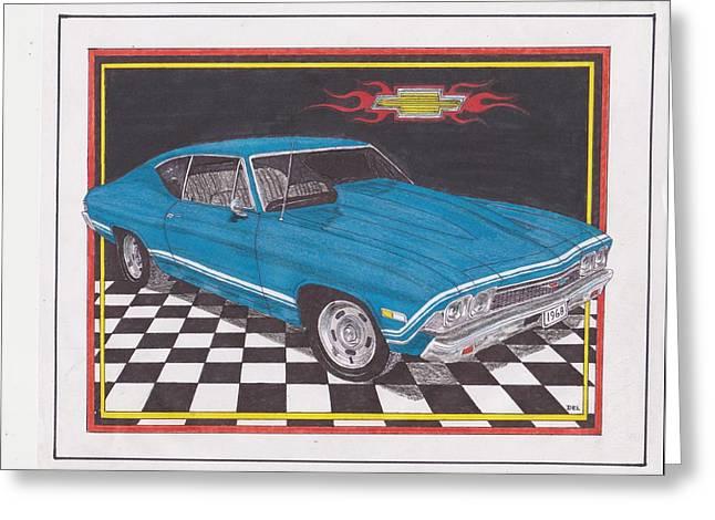 1968 Drawings Greeting Cards - 1968 Chevelle Malibu Greeting Card by Darrell Leonard