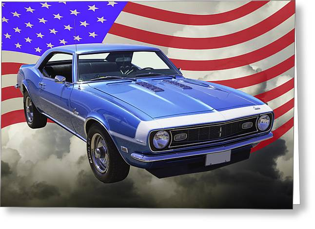 American Automobiles Greeting Cards - 1968 Chevrolet Camaro 327 And United States Flag Greeting Card by Keith Webber Jr