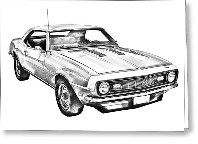 Line Drawings Greeting Cards - 1968 Chevrolet Camaro 327 Muscle Car Illustration Greeting Card by Keith Webber Jr