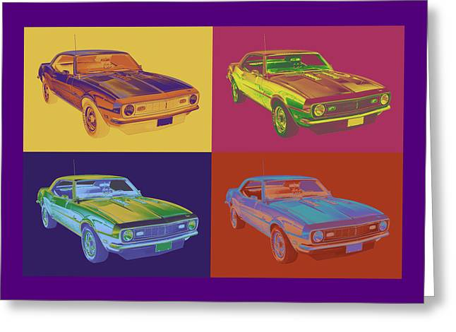 Retro Digital Art Greeting Cards - 1968 Chevrolet Camaro 327 Muscle Car Pop Art Greeting Card by Keith Webber Jr