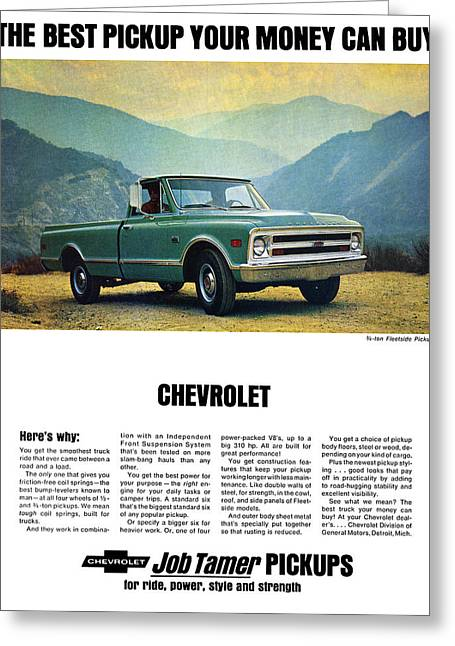 Tamer Greeting Cards - 1968 Chevy 3/4 Ton Fleetside Pickup Truck Greeting Card by Digital Repro Depot