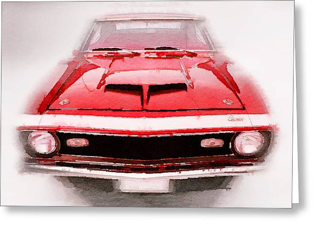 Chevy Greeting Cards - 1968 Chevy Camaro Front End Watercolor Greeting Card by Naxart Studio