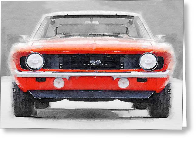Ss Greeting Cards - 1968 Chevy Camaro SS Watercolor Greeting Card by Naxart Studio