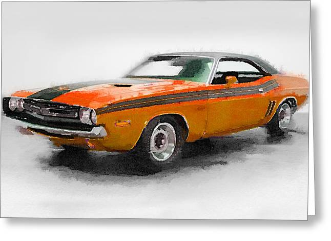 Challenger Greeting Cards - 1968 Dodge Challenger Watercolor Greeting Card by Naxart Studio
