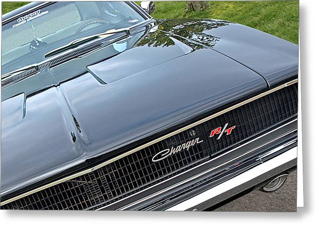 Garage Wall Art Greeting Cards - 1968 Dodge Charger Greeting Card by Gill Billington