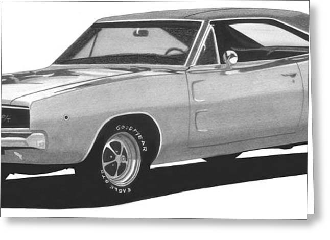 1968 Drawings Greeting Cards - 1968 Dodge Charger Greeting Card by Liz Northrup