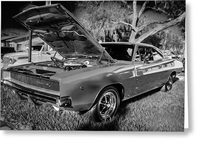 American Automobiles Greeting Cards - 1968 Dodge Charger the Bullet Car BW Greeting Card by Rich Franco
