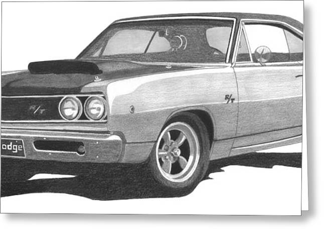 1968 Drawings Greeting Cards - 1968 Dodge Coronet Greeting Card by Liz Northrup