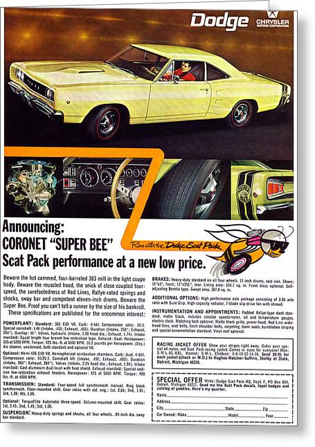 Dodge Coronet Super Bee Greeting Cards - 1968 Dodge Coronet Super Bee Greeting Card by Digital Repro Depot