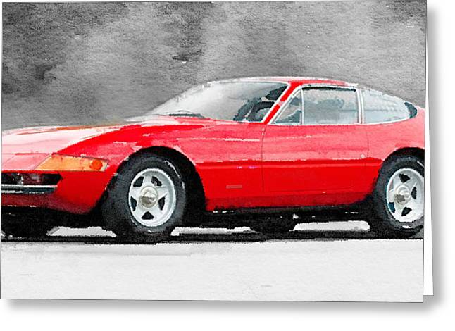 Daytona Greeting Cards - 1968 Ferrari 365 GTB4 Daytona Watercolor Greeting Card by Naxart Studio