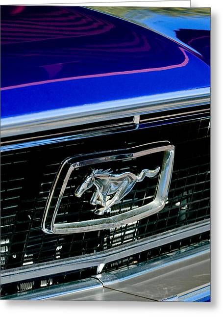 Gt-350 Greeting Cards - 1968 Ford Mustang Cobra GT 350 Grille Emblem Greeting Card by Jill Reger