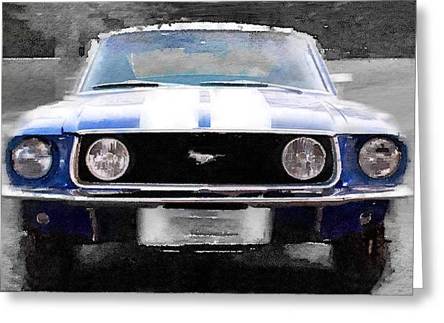 Ford Mustang Greeting Cards - 1968 Ford Mustang Front End Watercolor Greeting Card by Naxart Studio