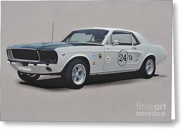1968 Drawings Greeting Cards - 1968 Ford Mustang race car Greeting Card by Paul Kuras