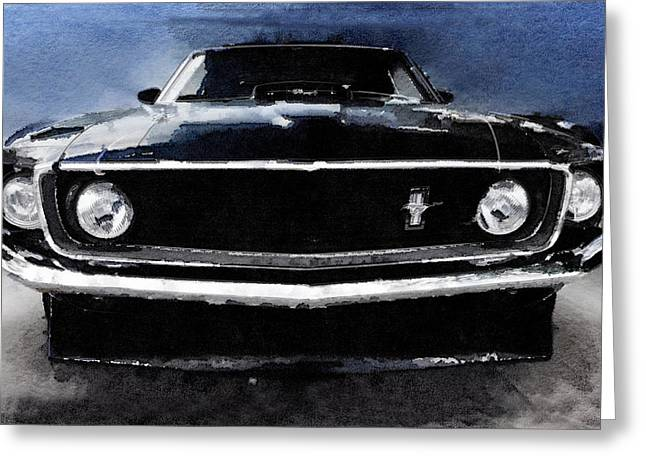 Ford Mustang Greeting Cards - 1968 Ford Mustang Shelby Front Watercolor Greeting Card by Naxart Studio