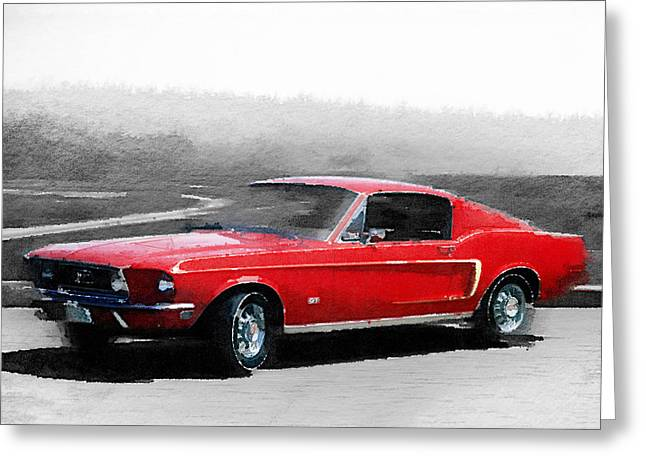 1968 Ford Mustang Watercolor Greeting Card by Naxart Studio