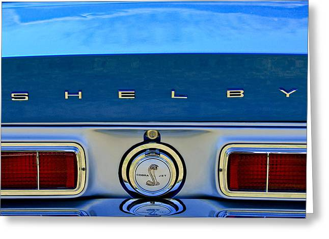 Car Show Photography Greeting Cards - 1968 Ford Shelby GT500 KR Convertible Rear Emblems Greeting Card by Jill Reger