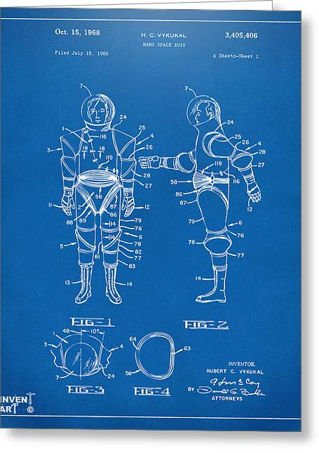 Office Space Greeting Cards - 1968 Hard Space Suit Patent Artwork - Blueprint Greeting Card by Nikki Marie Smith