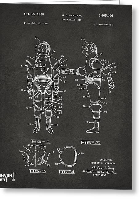 Office Space Greeting Cards - 1968 Hard Space Suit Patent Artwork - Gray Greeting Card by Nikki Marie Smith