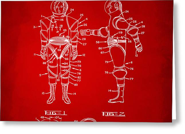 1968 Hard Space Suit Patent Artwork - Red Greeting Card by Nikki Marie Smith