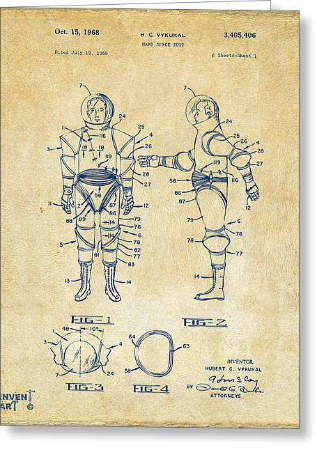 Office Space Greeting Cards - 1968 Hard Space Suit Patent Artwork - Vintage Greeting Card by Nikki Marie Smith