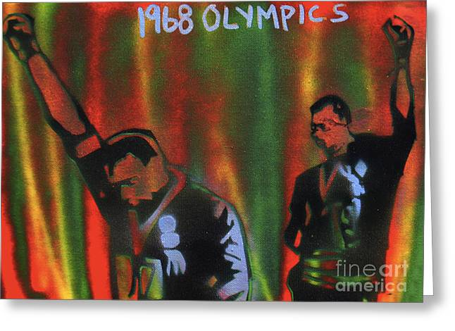 Aerosol Paintings Greeting Cards - 1968 Olympics Greeting Card by Tony B Conscious