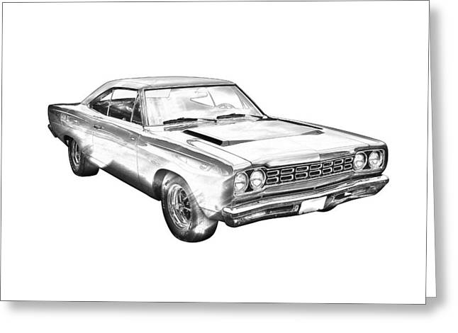 Road Runner Greeting Cards - 1968 Plymouth Roadrunner Muscle Car Illustration Greeting Card by Keith Webber Jr