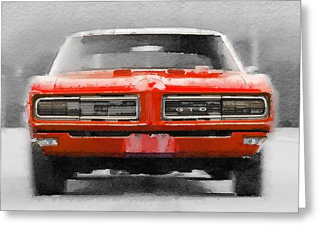 Pontiac Gto Greeting Cards - 1968 Pontiac GTO Front Watercolor Greeting Card by Naxart Studio