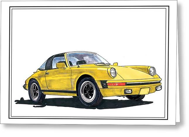 1968 Drawings Greeting Cards - 1968 Porsche Targa Greeting Card by Jack Pumphrey