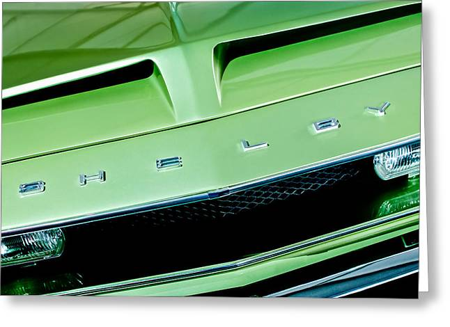 Famous Photographers Greeting Cards - 1968 Shelby GT 500 KR Fastback Grille Emblem Greeting Card by Jill Reger