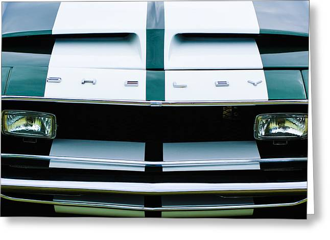 Fastback Greeting Cards - 1968 Shelby GT500 Fastback Grille Emblem Greeting Card by Jill Reger