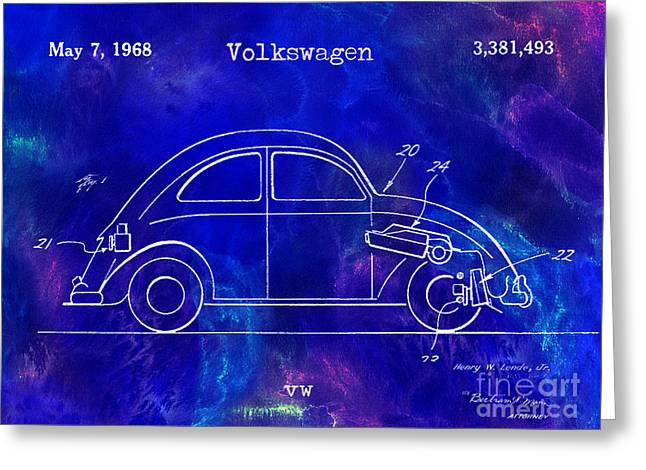 Micro Greeting Cards - 1968 VW Patent Drawing Blue Greeting Card by Jon Neidert