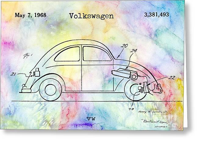 Vw Bug Greeting Cards - 1968 VW Patent Drawing Greeting Card by Jon Neidert