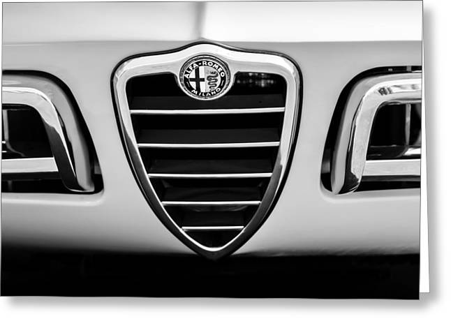 1750 Greeting Cards - 1969 Alfa Romeo 1750 Sider Grille Emblem -0803bw Greeting Card by Jill Reger