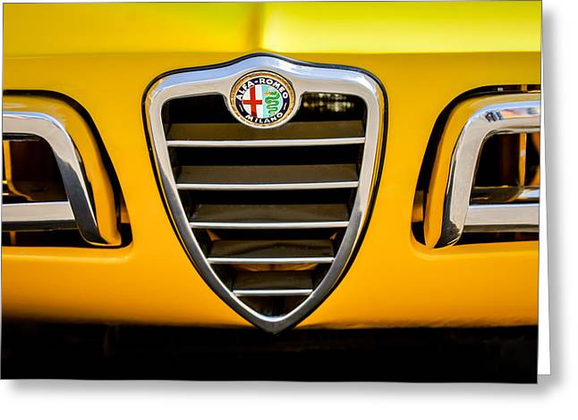 1750 Greeting Cards - 1969 Alfa Romeo 1750 Sider Grille Emblem -0803c Greeting Card by Jill Reger