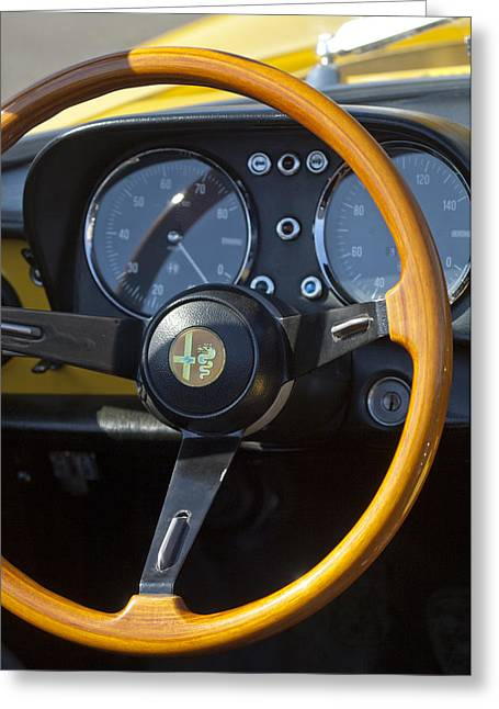 1750 Greeting Cards - 1969 Alfa Romeo 1750 Spider Steering Wheel Greeting Card by Jill Reger
