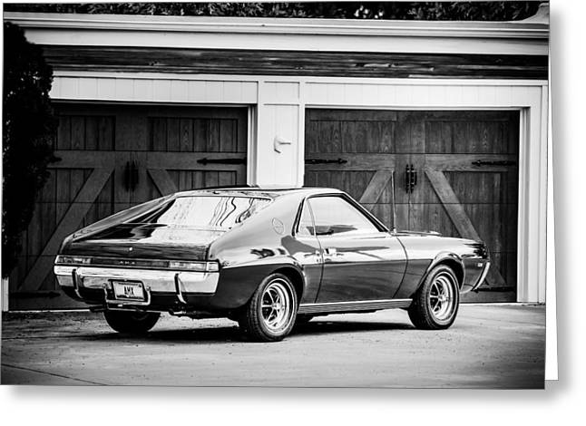 Amc Greeting Cards - 1969 AMC AMX -0100bw Greeting Card by Jill Reger
