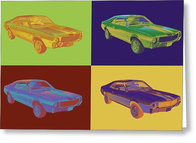 Orange Car Greeting Cards - 1969 AMC Javlin Car Pop Art Greeting Card by Keith Webber Jr