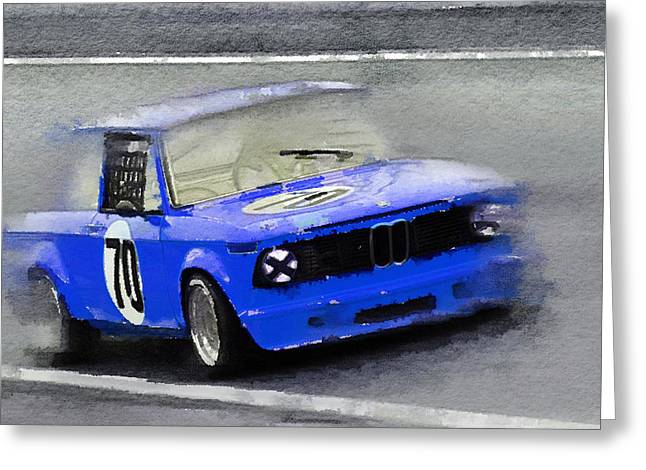 Bmw Racing Car Greeting Cards - 1969 BMW 2002 Racing Watercolor Greeting Card by Naxart Studio