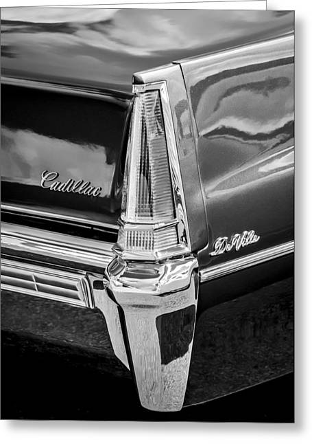 1969 Cadillac Deville Taillight Emblems -0890bw Greeting Card by Jill Reger