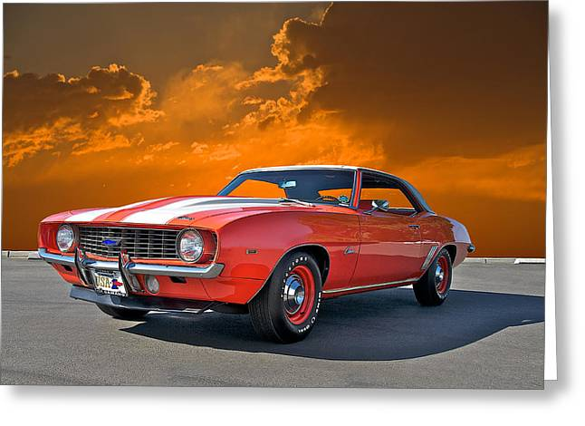 American Automobiles Greeting Cards - 1969 Camaro COPO 3 Greeting Card by Dave Koontz