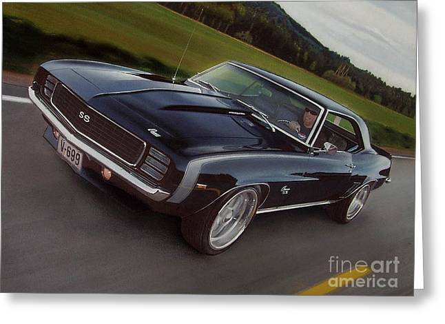 Driving Drawings Greeting Cards - 1969 Camaro in motion Greeting Card by Paul Kuras