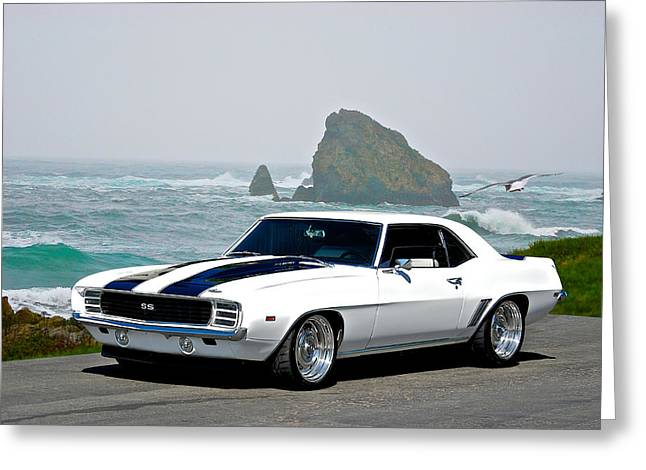 American Automobiles Greeting Cards - 1969 Camaro SS Seaside Greeting Card by Dave Koontz