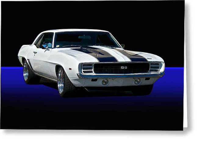 American Automobiles Greeting Cards - 1969 Camaro SS Studio Greeting Card by Dave Koontz